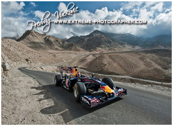 mind blowing!!! F1 in Khardung la, ladakh...hats off red bull team!!