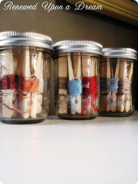 3 of my favorites - jars, clothes pins, embroidery floss