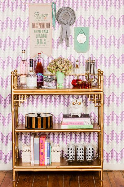 Society Social Official Photography August 2012 | Loren Console, Red Decanter Set, Mint Milkshake Glass, Fu Dog Bookends, Cane Motif Highball Set, and @KimberlyLewis Home wallpaper!