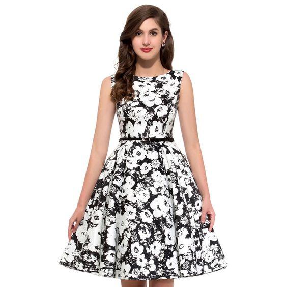 2016 Audrey Hepburn barco pescoço estilo algodão do Vintage 50 s vestidos de Rockabilly balanço Pin Up vestido para as mulheres