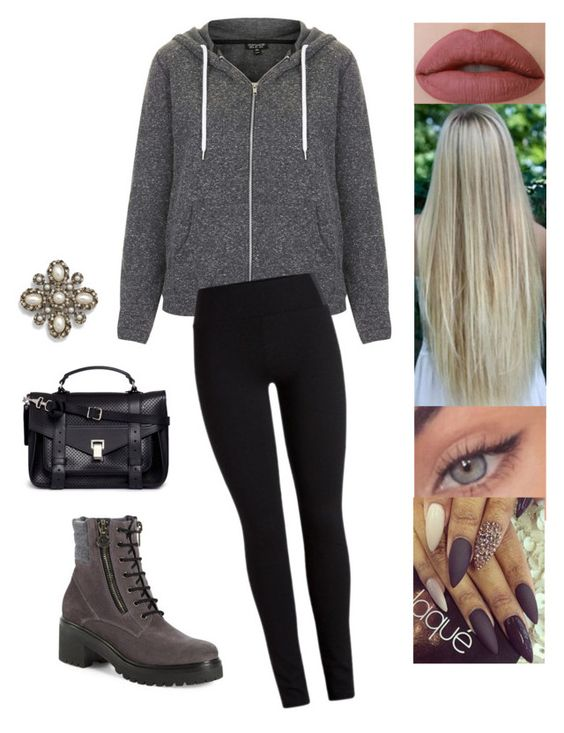 """""""Untitled #4611"""" by sigalv ❤ liked on Polyvore featuring Topshop, Moncler, Proenza Schouler and Cara"""
