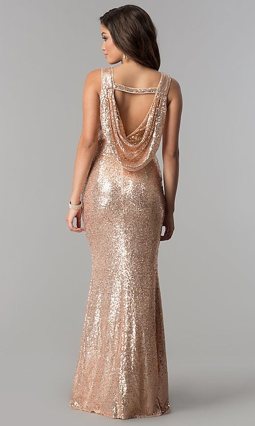Rose Gold Long Sequin Prom Dress With Cowl Back Gold Dresses Long Gold Evening Dresses Long Mothers Dress