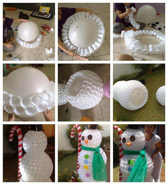 Como hacer un mu eco de nieve con vasos material - Manualidades con vasos ...