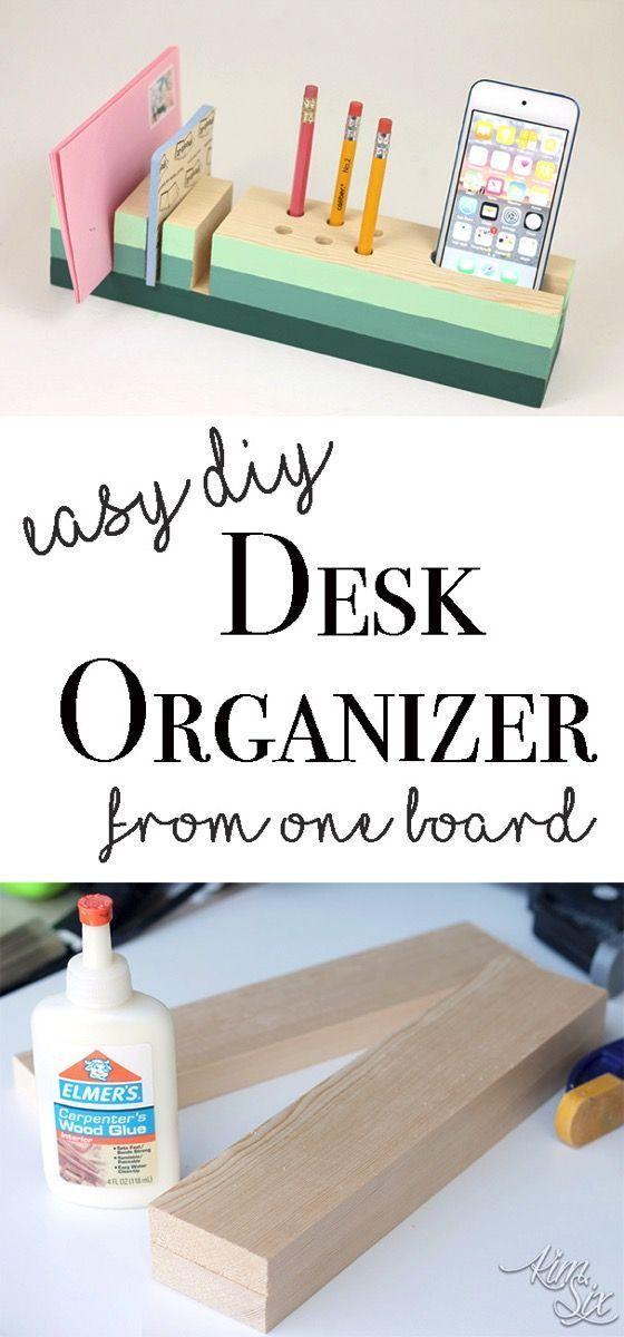 Desk Organizer From A Single 1x3 Board Desk Organization Diy Woodworking Projects Diy Easy Diy