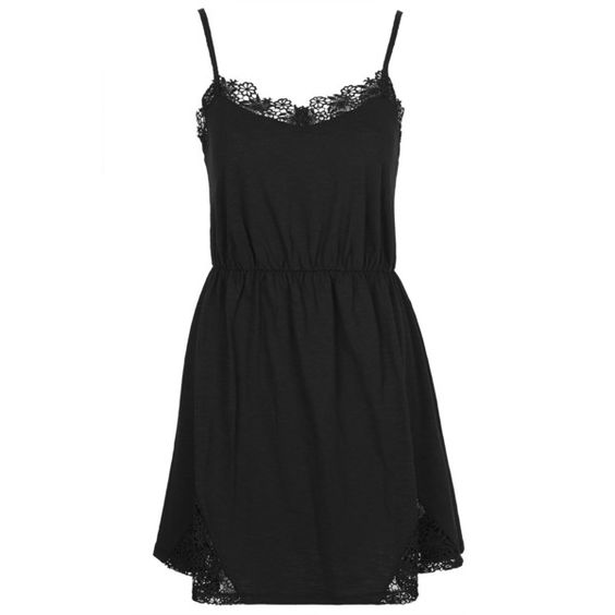 TOPSHOP Lace Insert Strappy Sundress (135 BRL) ❤ liked on Polyvore featuring dresses, vestidos, black, slip dress, sun dresses, strappy little black dress, strappy dress and jersey dress