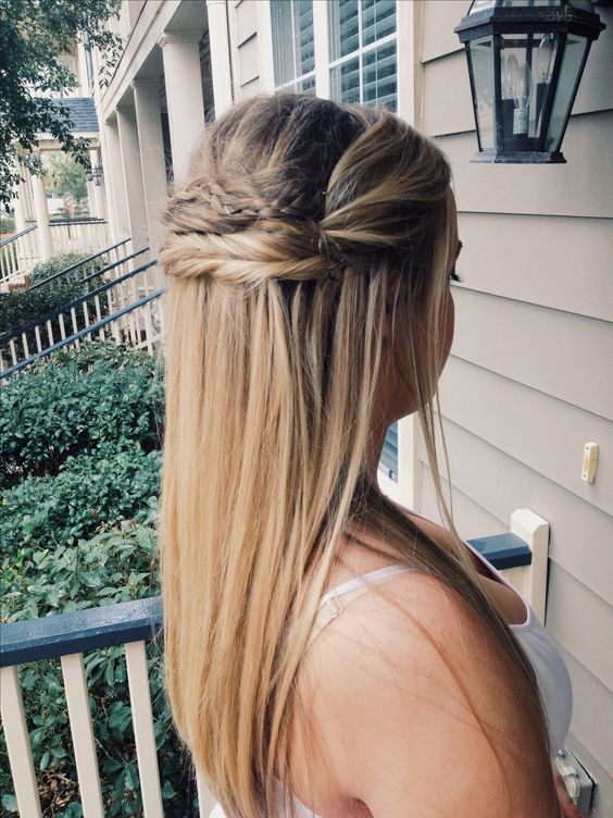 Straight Half Up Hairstyle Great For Bride Or Bridesmaid