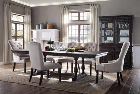 David Table W 6 Chairs China Cabinet Large Dining Room Table Upholstered Dining Chairs Large Dining Room