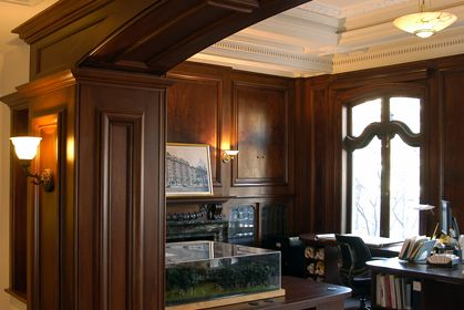 conference room custom wall paneling, arched opening, woodwork, millwork, Boston, Massachusetts, New England