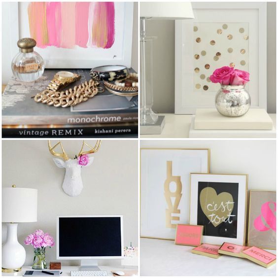 pink and gold bedroom office inspiration www