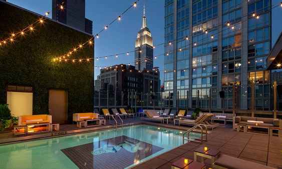 Our Beautiful #custom #cushions on Gansevoort Park Ave NYC Rooftop Pool - courtesy of Gansevoort Hotel Group -#designer-Bernadette Kopec