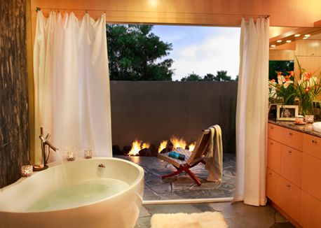 Honorable Mention: Baths  - our lighting featured in an Outside In Bathroom in California