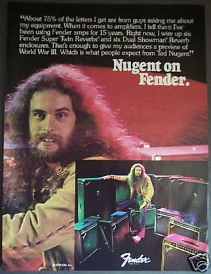 Ted Nugent Fender Guitar Amps Photo 1978 Live To Shred