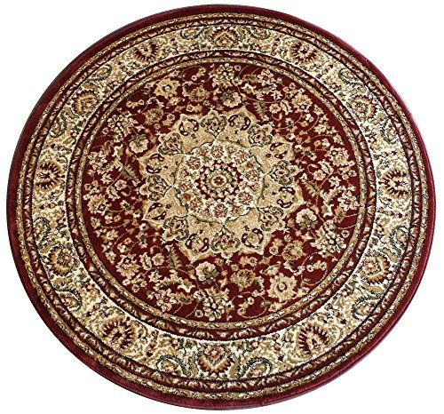 Traditional Round Area Rug Design 401 Burgundy 5 Feet 3 Inch X