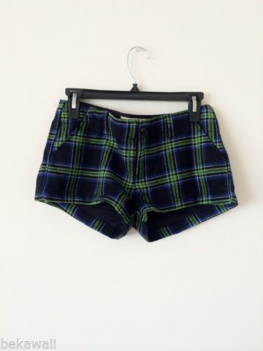 NWT HOLLISTER Winter Wool Plaid Check Mini Short BLUE GREEN SIZE 3 W26