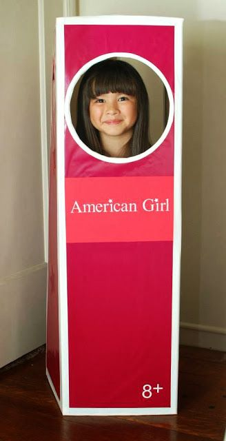 Haha! How fun is this life-sized doll box for an American Girl doll birthday party?! Great photo booth idea. Check out the link for other fun American Girl party ideas.