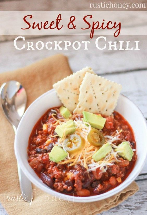 Sweet-And-Spicy-Crockpot-Chili from the Rustic Honey Blog! Love a good slow cooked chili with some heat! Great topping ideas in this recipe too!