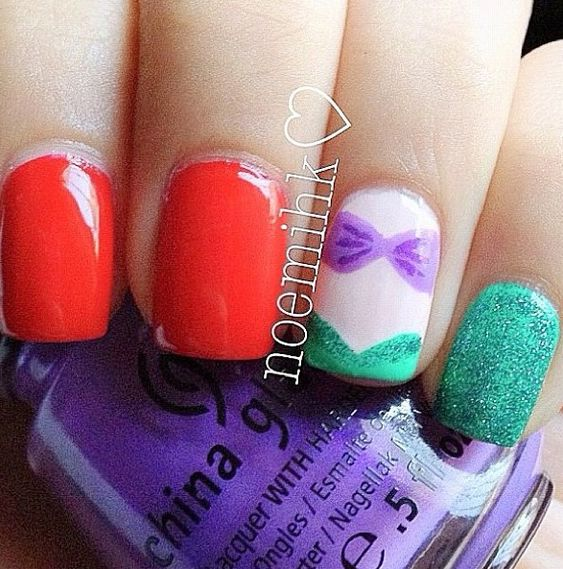 DISNEY Ariel from The Little Mermaid nails. These look great, understated but yet obvious.