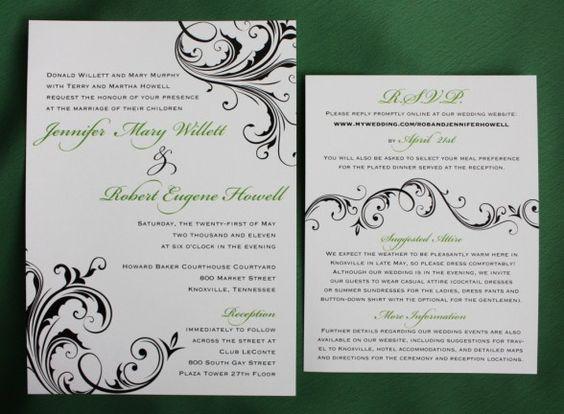 Wedding Invitations : Perfect Wedding Invitation Picture Ideas - Green And Black Swirl Wedding Invitation Ideas