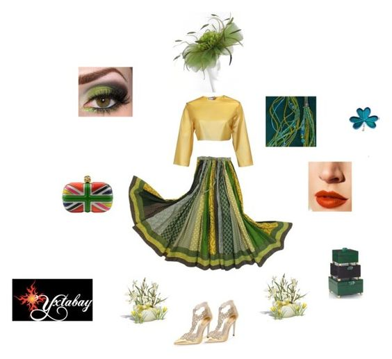 """""""Green Gardens"""" by yxtabay ❤ liked on Polyvore featuring Alexander McQueen, René Caovilla, Sydney-Davies, Lime Crime and GREEN"""