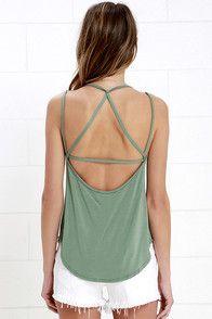 Cute Sage Green Top - Tank Top - Backless Top - $31.00