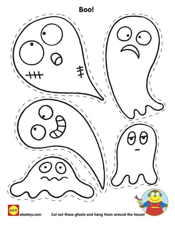 Halloween #Printable: Cut and Color ghosts | alextoys.com
