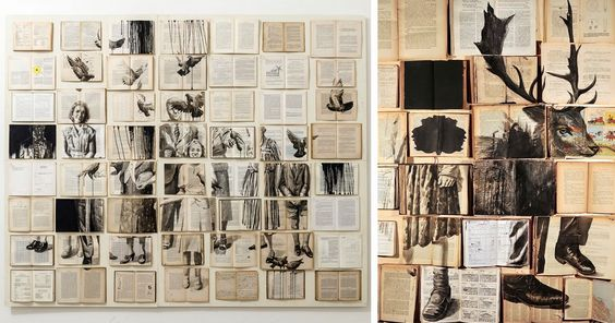 A collection of new ink paintings on grids of vintage books by Ekaterina Panikanova currently on view in Rome.