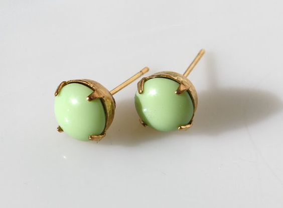 apple green glass studs