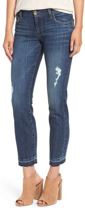distressed stretch straight leg ankle jeans