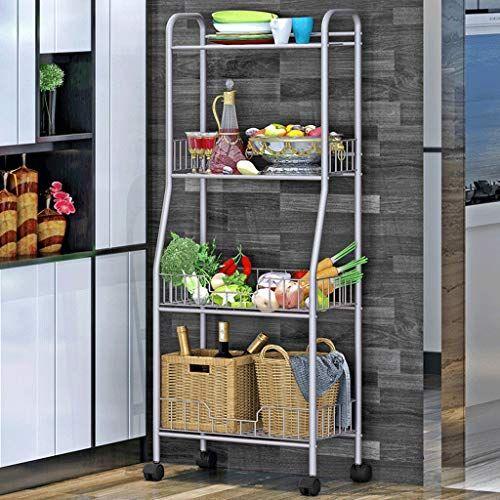 Llf Kitchen Storage Trolley Multi Purpose 4 Tiers Metal Mesh