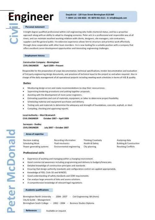 Cv Template Civil Engineer Resume Format