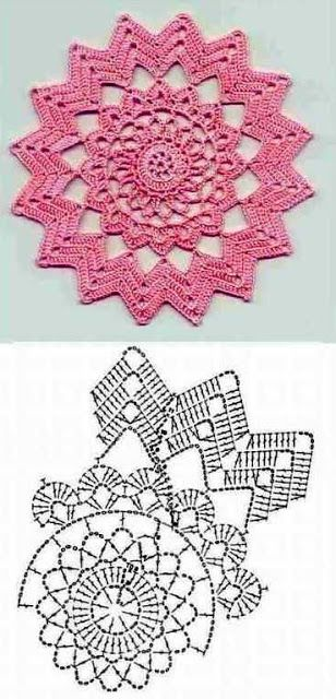 Crochet doily chart. Would make an awesome rug with t-shirt yarn!: