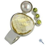 Design-Ring mit Lemoncitrin, Peridot und Perle, Gr. 57 | Großhandel Heilsteine, Mineralien-Handel Edelsteine, Großhändler Silberschmuck, Perlen Trommelsteine