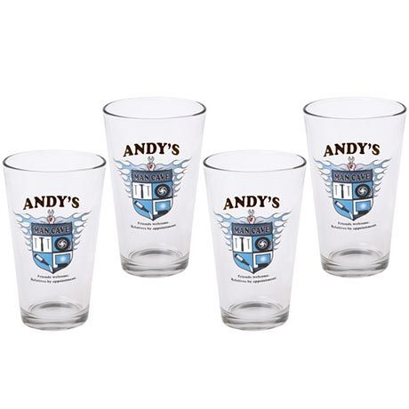 PERSONALIZED MAN CAVE PINT GLASSES (SET OF 4)