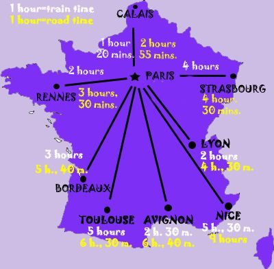 France Maps For Rail Paris Attractions And Distance France - France driving distances map