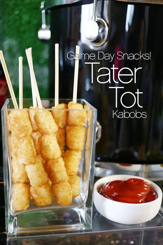 Football party game day snacks tater tot kabobs my for Food bar ideas for a party