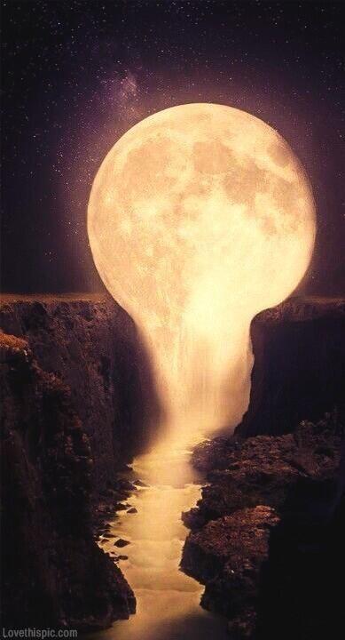 Dripping moon dark night light water nature art moon