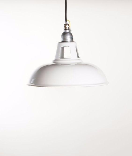 FARSLEY   white factory enamel ceiling pendant light   vintage industrial   eBay