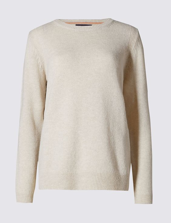 M&S Pure Lambswool Round Neck Jumper