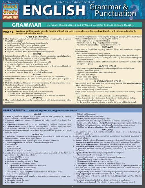 Quickstudy English Grammar Punctuation Laminated Study Guide