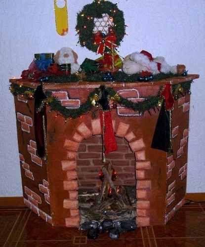 Chimeneas navide as en mdf buscar con google - Como hacer chimeneas decorativas ...