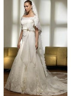 Breathtaking Slight Trumpet/Mermaid Off the Shoulder Court Satin Bridal Gown (3AD0183)