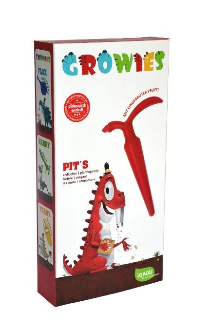 GROWIES, Pit's Erdlocher Kinder Pflanzhilfe mit Flötenfunktion, iGADU Gartenspielzeug
