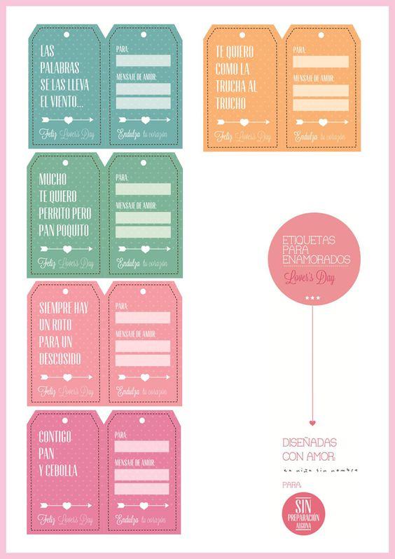 Etiquetas para enamorados | Imprimibles