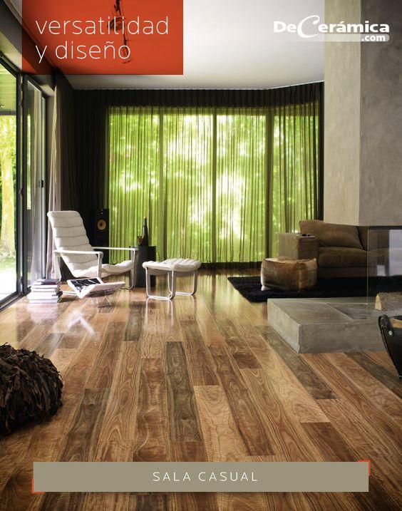SALA CASUAL - Destaca tus ambientes dándoles elegancia, con la versatilidad y diseño de los pisos laminados. - Para una sala acogedora, considera los tonos oscuros que darán mayor profundidad.