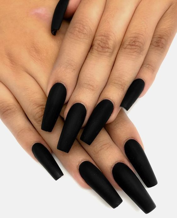 55 Impressive Matte Coffin Nail Art Designs Almond Nails Designs Matte Nails Design Glue On Nails