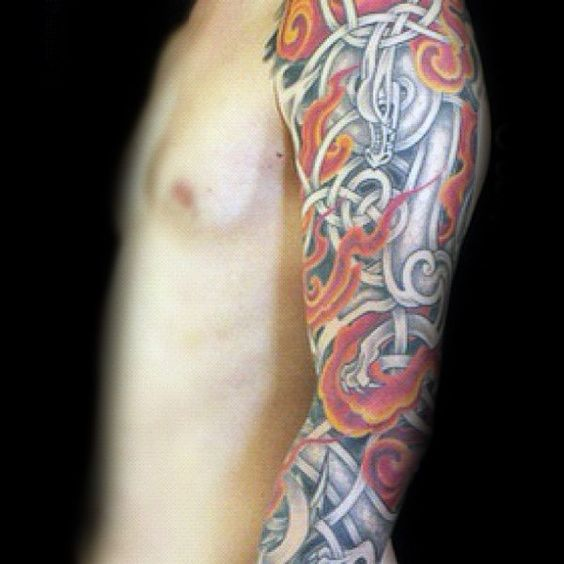 Celtic Colored Knot Forearm Design
