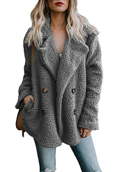 Amacok Womens Fleece Winter Warm Casual Open Front Jacket Coat with Pockets Outerwear
