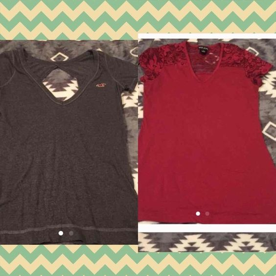 Shirt bundle Hollister shirt size medium, wet seal size large but Fits like a medium. Both in great condition. Price is for both shirts :) Wet Seal Tops Tees - Short Sleeve