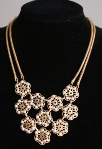 Louis Rousselet 2 Strand Goldtone Pearl Florets 10 Florets Pendant Necklace