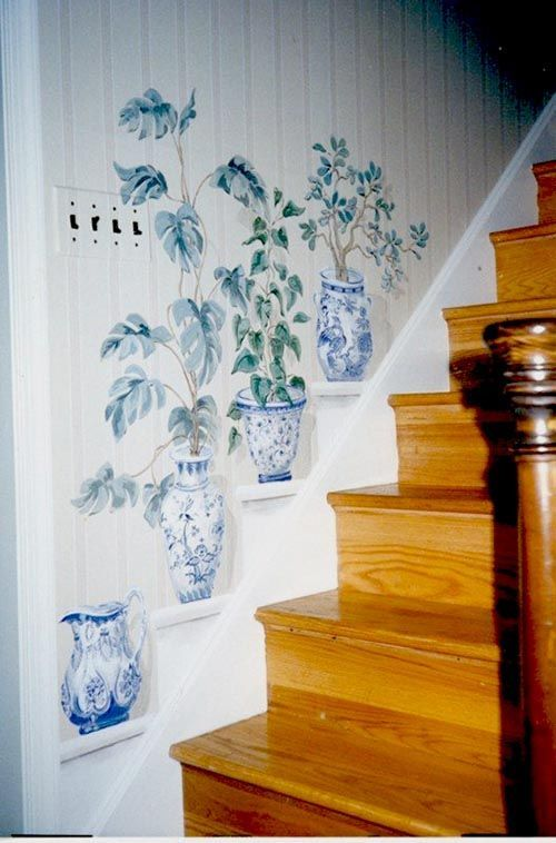 Painted Wall Stairs Decoration Staircase Stairs Stairway | Stairs Wall Paint Design | Designer | Fancy | Beautiful | Staircase Railing Wood | Wall Colour
